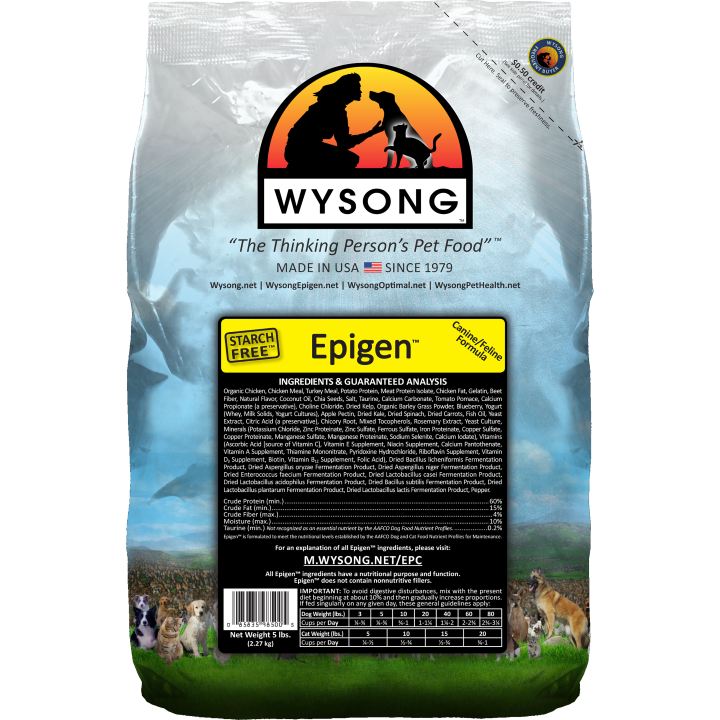 Wysong Epigen™ represents the first important kibble pet food innovation in almost 60 years (patent pending) and moves conventional dry extruded pet foods much closer to the high protein meat-based, starchless foods carnivores are genetically designed for, giving dogs greater opportunity to enjoy their full natural health. Rich in omega-3's and other essential fatty acids and other important food elements for dogs.